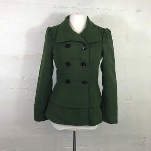 Green Decree Double Breasted Skirted Military Jack